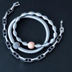 "Jewelry - Set of 3 Metal & Ceramic Italian Bracelets 7.5"""